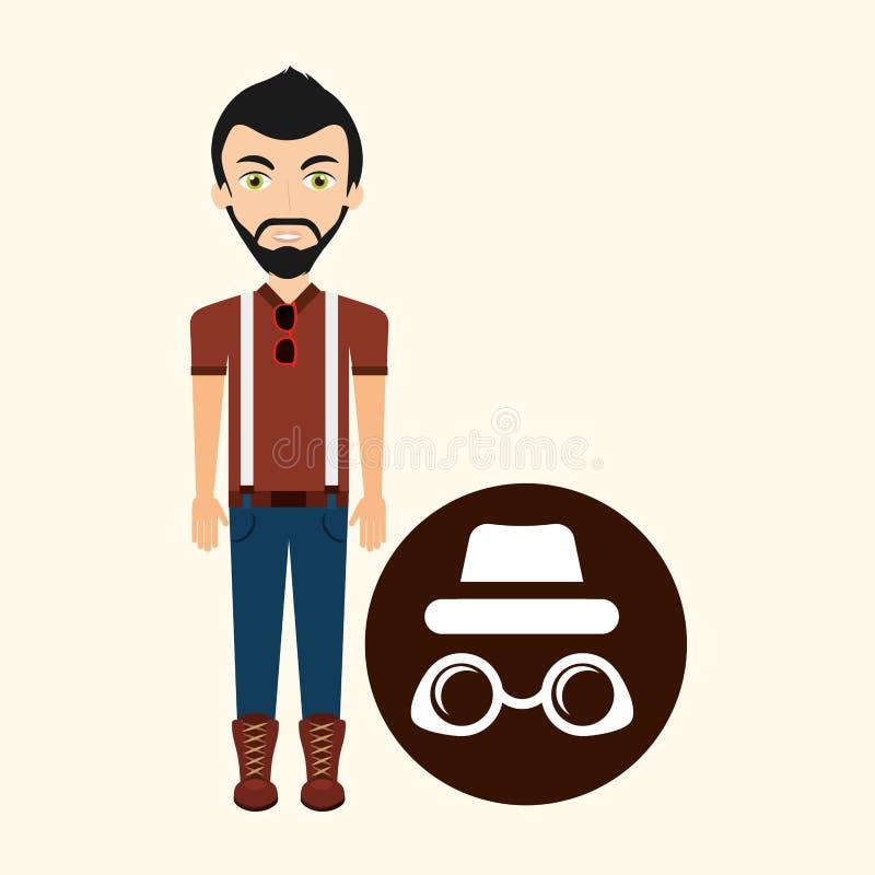 Moderiktig hatt för ung hipstermansolglasögon stock illustrationer
