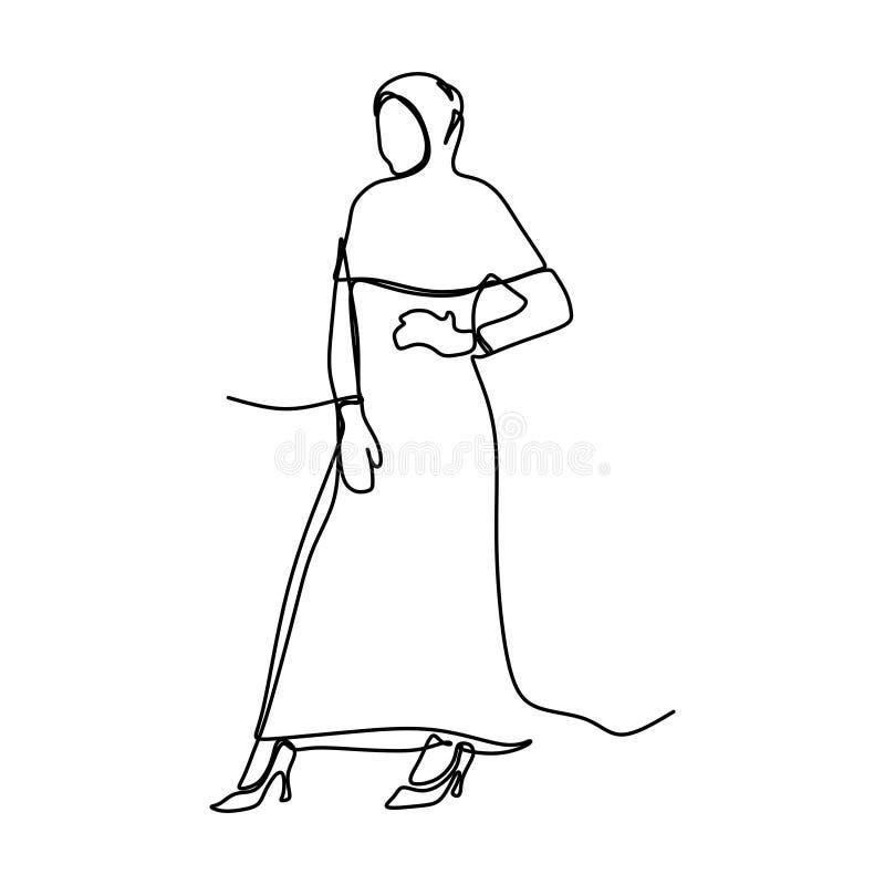 Moderiktig hijabflicka som bär modernt mode med en fortlöpande linje design för illustration för konstteckningsvektor som minimal vektor illustrationer