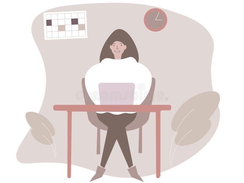 Moderiktig illustration av en kontorsung flickaarbetare, i lyckligt att sitta och att arbeta p? en dator vektor illustrationer
