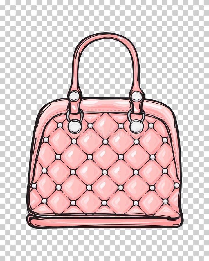Moderiktig illustration för läderrosa färgpåse vektor illustrationer