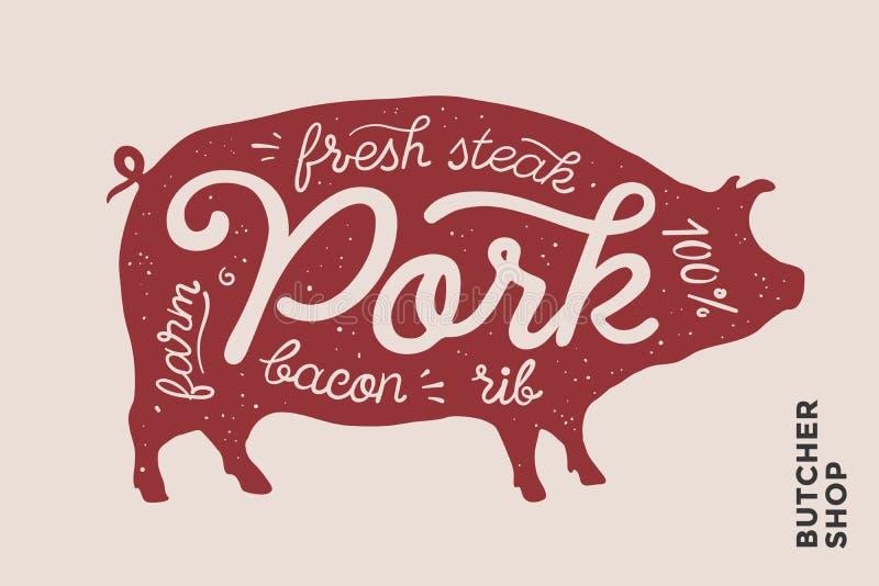Moderiktig illustration med den röda svinkonturn och ordgriskött vektor illustrationer