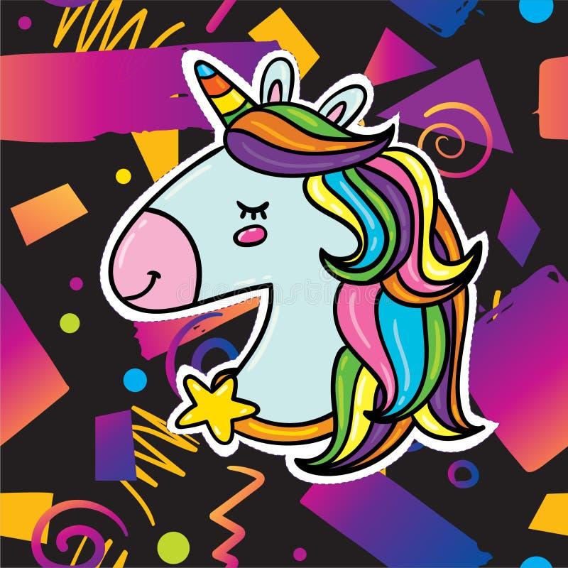 Moderiktig kortdesign med enhörningen stock illustrationer