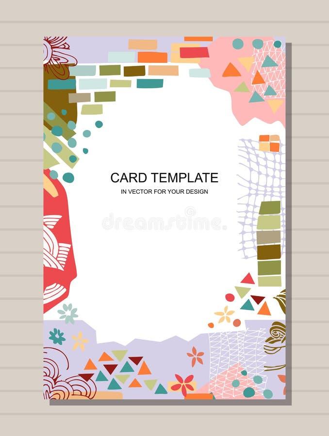 Moderiktig kortmall med den färgrika ramen från olika former och texturer Design för affisch-, inbjudan- och hälsningkort royaltyfri illustrationer