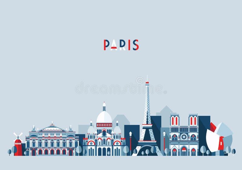 Moderiktig lägenhet för vektor för Paris Frankrike stadshorisont stock illustrationer