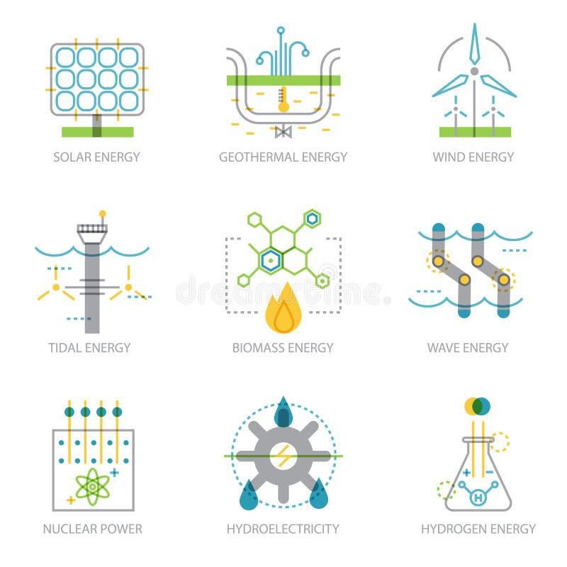 Moderiktig linjär designuppsättning av symboler på växter för elektricitetsutveckling royaltyfri illustrationer