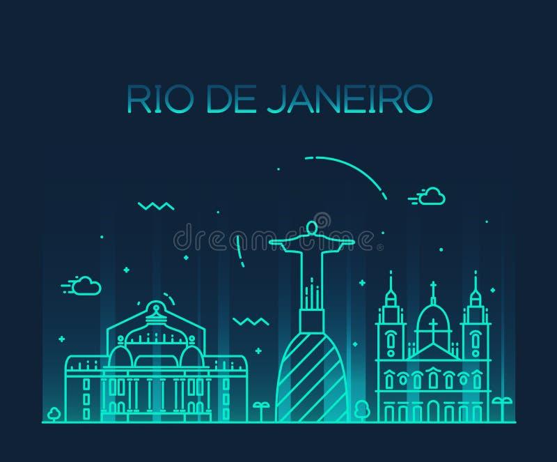 Moderiktig linje konststil för Rio de Janeiro City horisont vektor illustrationer