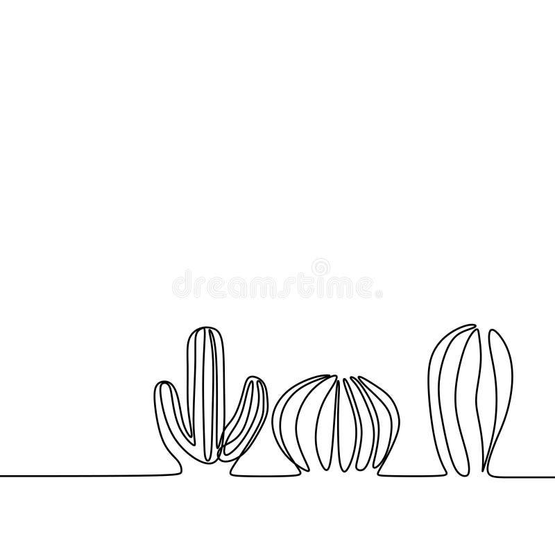 Moderiktig linje minimalist designvektorillustration för kaktus en royaltyfri illustrationer