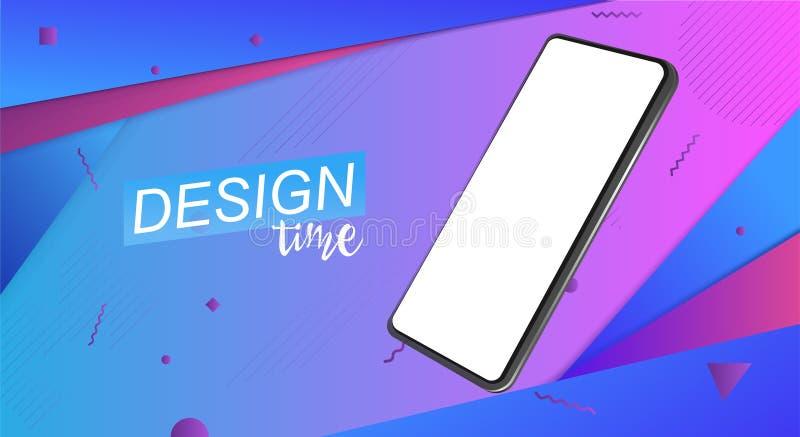 Moderiktig minimalistic isometrisk smartphone 3d Modell royaltyfri illustrationer