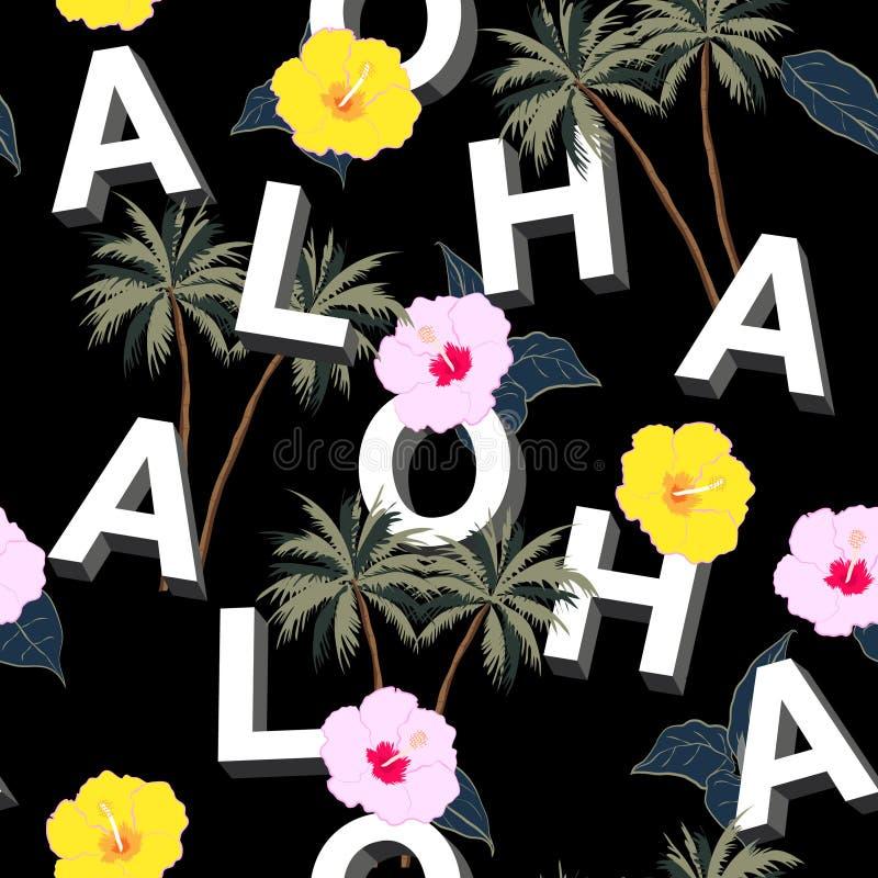 Moderiktig och härlig sömlös blandning för typo 3D ALOHA med sommarmoti royaltyfri illustrationer