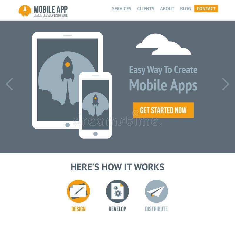 Moderiktig plan vektorwebsitemall för företaget som skapar mobila apps stock illustrationer