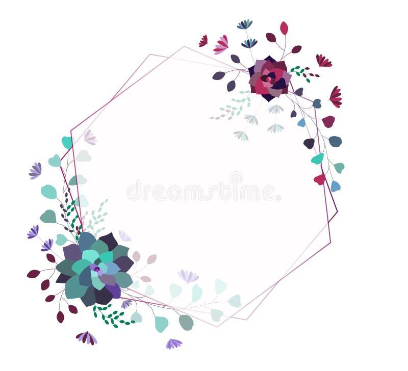 Moderiktig ram för blom- vektor, mall, gräns Eleganta moderiktiga suckulenter och sidor stock illustrationer