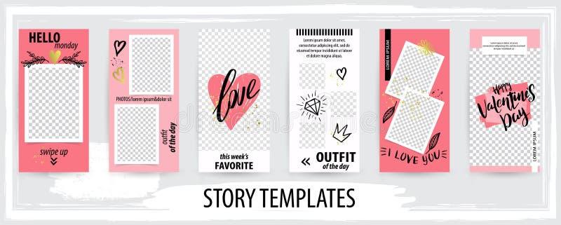 Moderiktig redigerbar mall för sociala nätverksberättelser, valentinvektorillustration royaltyfri illustrationer