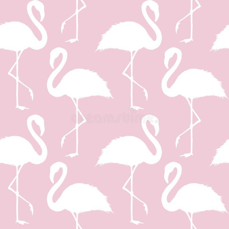 Moderiktig sömlös modell för rosa färg- och vitflamingo stock illustrationer