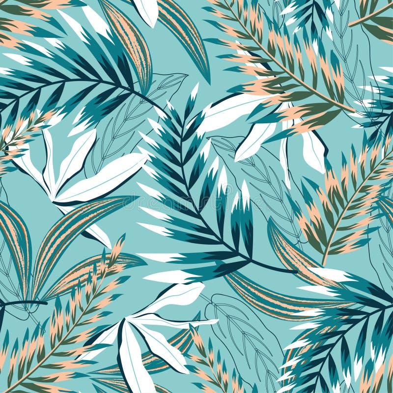 Moderiktig sömlös modell med färgrika tropiska sidor och blommor på en pastellfärgad blå bakgrund f?r designeps f?r 10 bakgrund v royaltyfri illustrationer