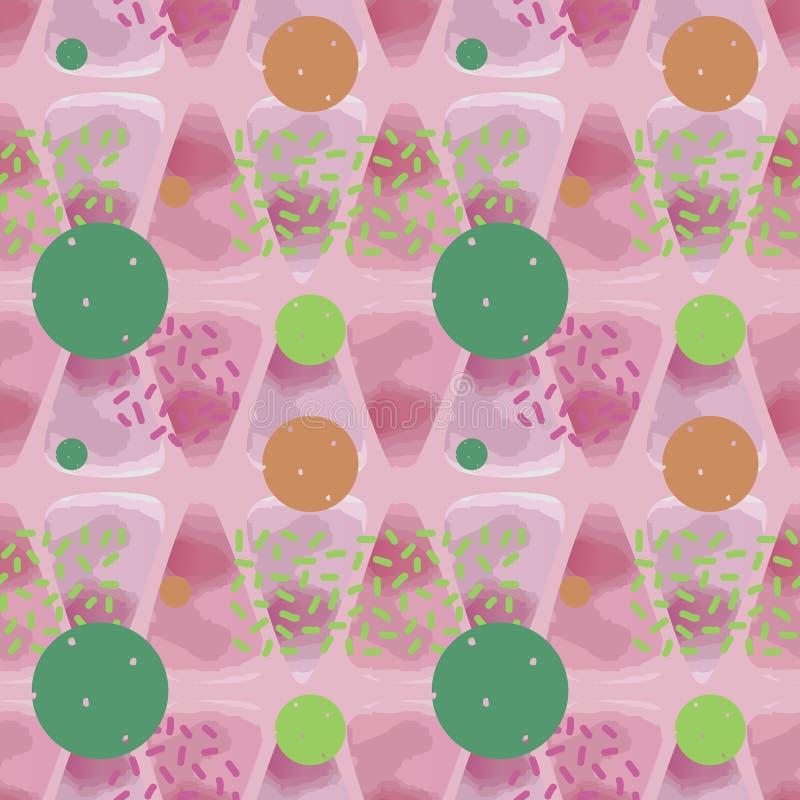 Moderiktig sömlös vattenfärgmodell med den mjuka färgrika den bakgrundsabstrakt begrepptriangeln och cirkeln royaltyfri illustrationer