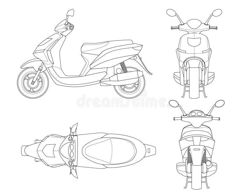 Moderiktig sparkcykelöversikt som isoleras på vit bakgrund Isolerad mopedmall för varit nedstämd, moped som brännmärker och stock illustrationer