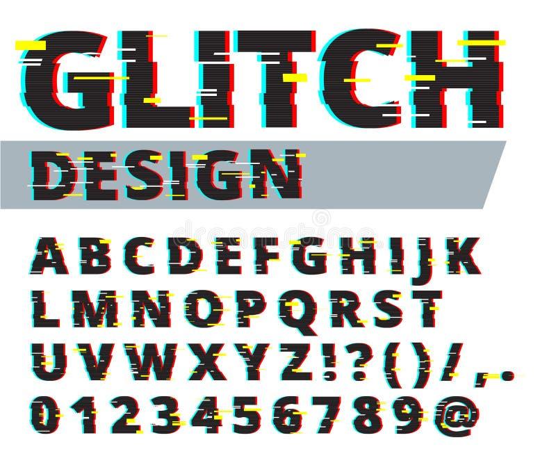 Moderiktig stil förvriden tekniskt felstilsort Bokstäver och nummervektorillustration Tekniskt felstilsortsdesign royaltyfri illustrationer