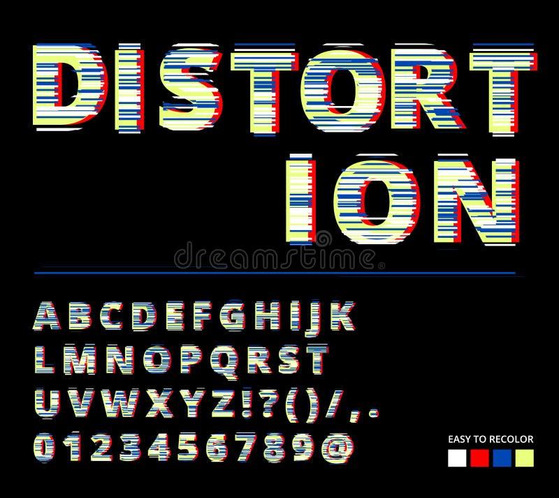 Moderiktig stil förvriden tekniskt felstilsort Bokstäver och nummervektorillustration Tekniskt felstilsortsdesign vektor illustrationer