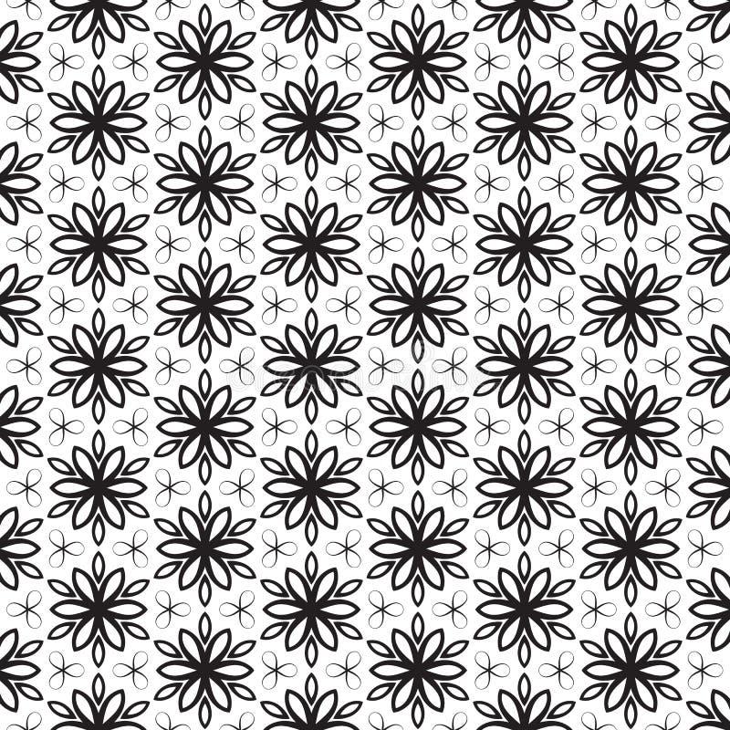 Moderiktig svart linje design som för skraj för bladsidor blom- kronblad för blomma upprepar den geometriska stjärnan för sömlös  stock illustrationer