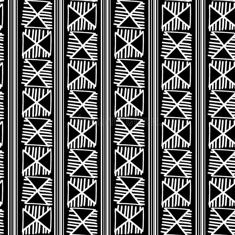 Moderiktig svartvit stam- sömlös modellvektorillustration med bakgrund för utdragen prydnad för hand som etnisk abstrakt är klar  stock illustrationer