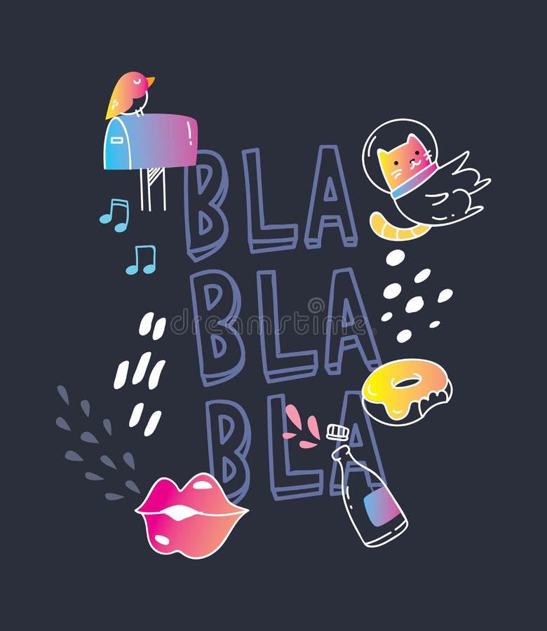 Moderiktig t-skjortadesign på svart bakgrund royaltyfri illustrationer