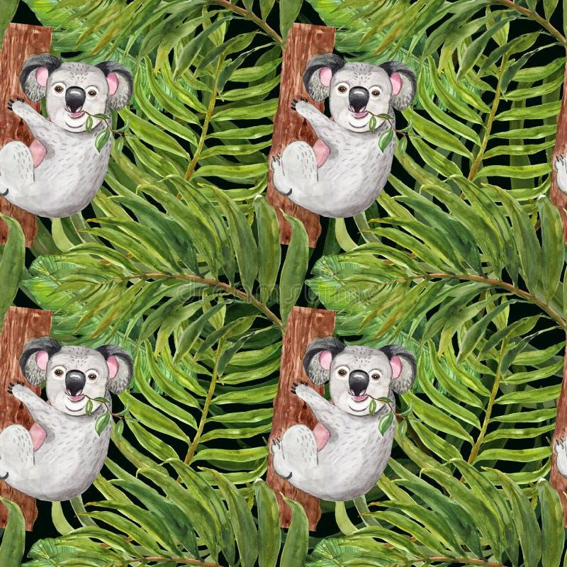 Moderiktig tropisk modell för vattenfärg med den hand målade koalan, palmblad på mörkt - grön bakgrund Botaniskt tryck för sommar stock illustrationer