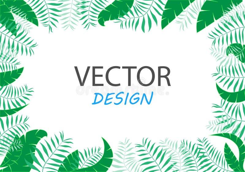 Moderiktig tropisk sidavektordesign Abstrakt begrepp formar Ramdesign för text royaltyfri illustrationer