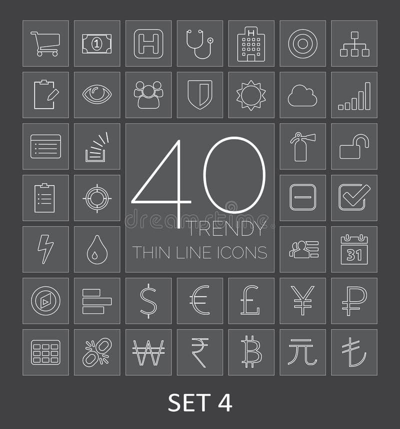 40 moderiktig tunn linje symboler för rengöringsduk och mobil För dig design stock illustrationer