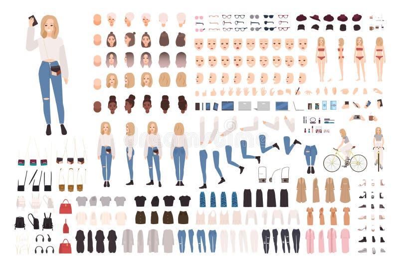 Moderiktig ung flickakonstruktöruppsättning eller DIY-sats Samling av kroppbeståndsdelar i olika ställingar, trendig dräkt vektor illustrationer