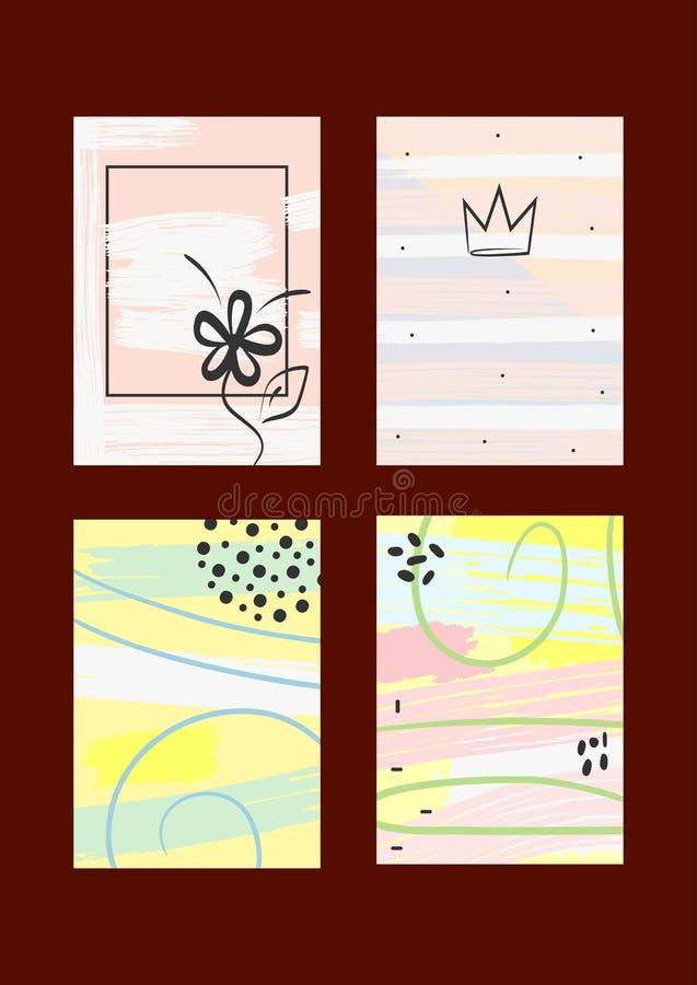 Moderiktig uppsättning av mallar för bakgrunder, räkningar, kort, inbjudningar, reklamblad Akvarellen skissar, målar, borstar stock illustrationer