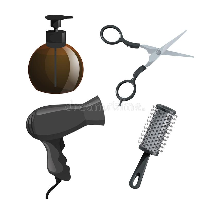 Moderiktig uppsättning för designhaircaresymboler Den bruna behållaren med stelnar, sax, hårtorken och cylinderborstehårkammen Yr stock illustrationer