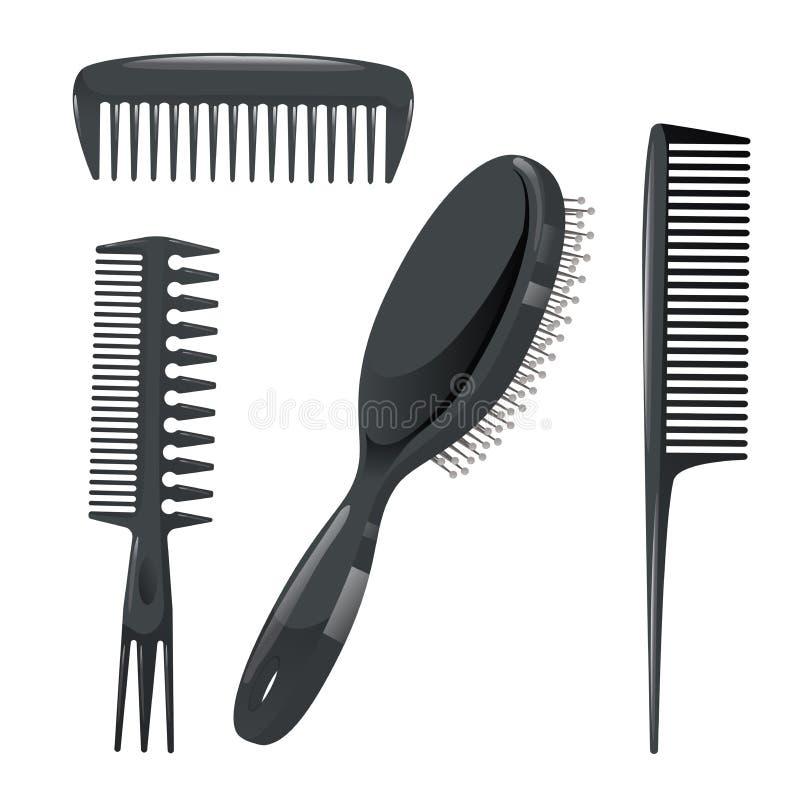 Moderiktig uppsättning för designhaircaresymboler Plast-hårkammar, yrkesmässigt svart hår för massageborste som utformar tillbehö vektor illustrationer