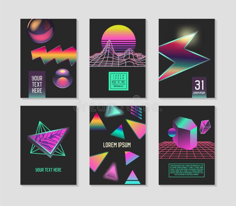 Moderiktiga abstrakta affischer ställde in med stället för dina text- och färglutningbeståndsdelar Geometriska baner för Hipster, stock illustrationer