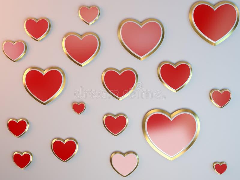 Moderiktiga abstrakta grå färger för valentindagbakgrund med 3d stiliserade röda hjärtor royaltyfri illustrationer