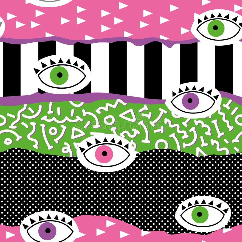 Moderiktiga abstrakta Memphis Seamless Pattern med ögon Hand dragen geometrisk modebakgrund för textilen, tryck, räkning, affisch stock illustrationer