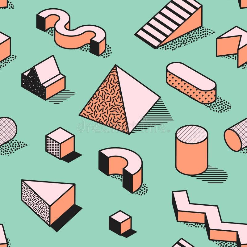 Moderiktiga abstrakta Memphis Seamless Pattern med geometriska former 3d Modebakgrund för textilen, tryck, räkning, affisch royaltyfri illustrationer