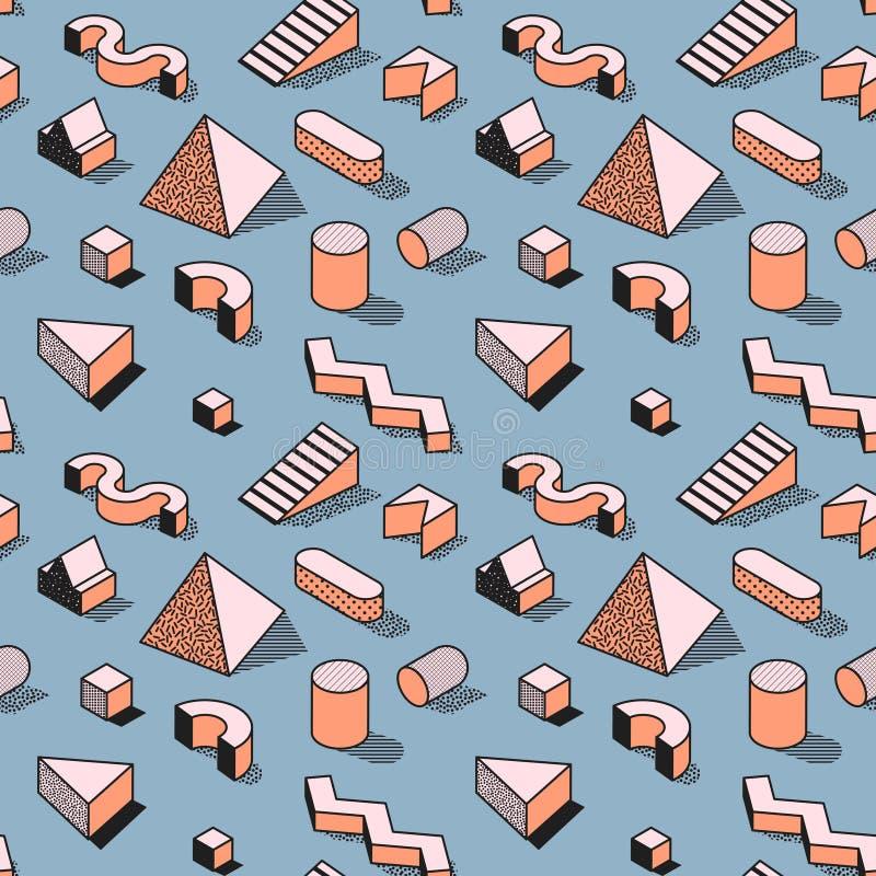 Moderiktiga abstrakta Memphis Seamless Pattern med geometriska former 3d Modebakgrund för textilen, tryck, räkning, affisch stock illustrationer