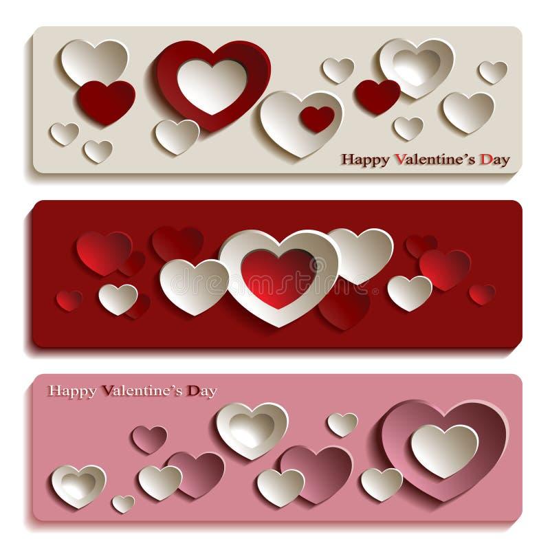 Moderiktiga baner för valentin dag med gulliga pappers- hjärtor stock illustrationer
