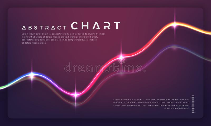 Moderiktiga diagramdiagram och grafer på mörk bakgrund royaltyfri illustrationer