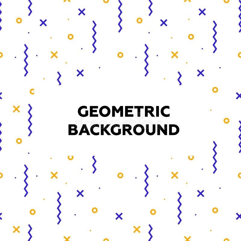 Moderiktiga geometriska beståndsdelar placera text Memphis stilbakgrunder mönsan retro seamless modern abstrakt design royaltyfri illustrationer