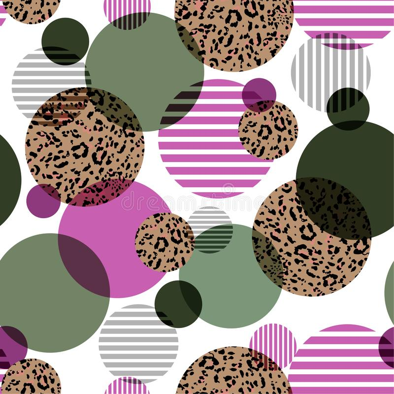 Moderiktiga geometriska påfyllning-i med runda djura leopardtryck och prickar gör randig den sömlösa modelldesignen för mode, tyg stock illustrationer