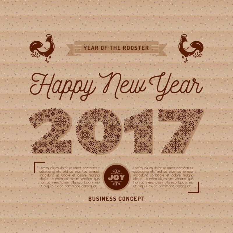 Moderiktiga nummer för kort 2017 för lyckligt nytt år, snöflingor, kraft papper royaltyfri illustrationer