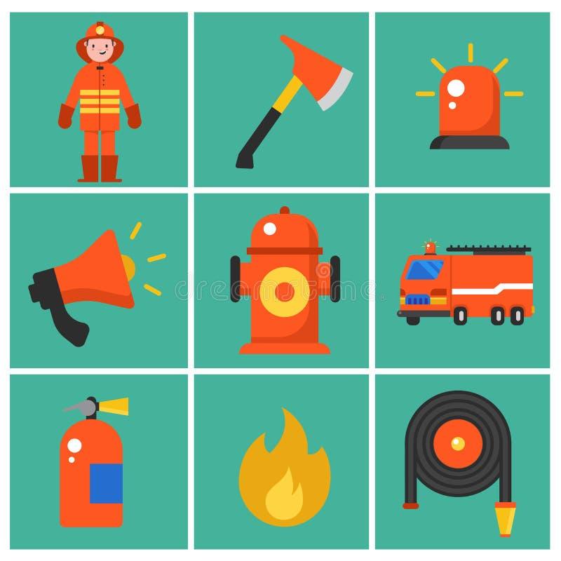 Moderiktiga plana brandmansymboler Uppsättning av brandmansymboler Brandmanbeståndsdelar för informationsdiagram också vektor för royaltyfri illustrationer
