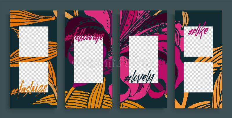 Moderiktiga redigerbara berättelsemallar, vektorillustration Designbakgrunder för social massmediaberättelse royaltyfri illustrationer