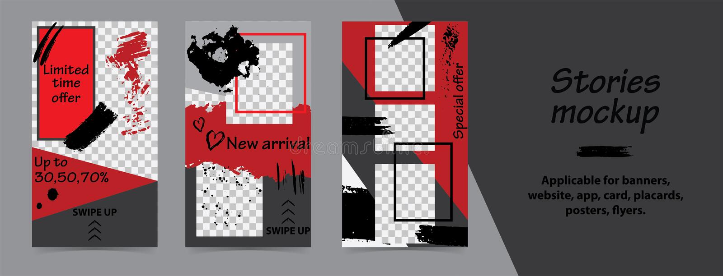 Moderiktiga redigerbara mallar för instagramberättelser, svart fredag försäljning, gåva, vektorillustration Designbakgrunder för  stock illustrationer