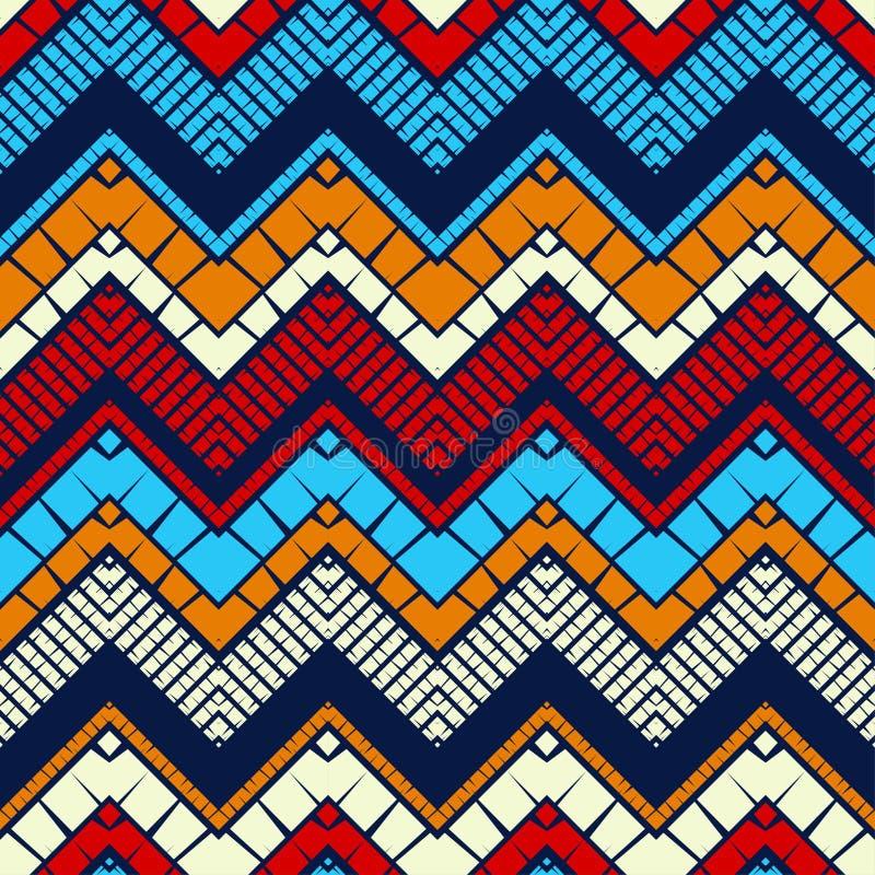 Moderiktiga s?ml?sa modelldesigner Mosaik av sicksacken med den gamla texturen Geometrisk bakgrund f?r vektor stock illustrationer