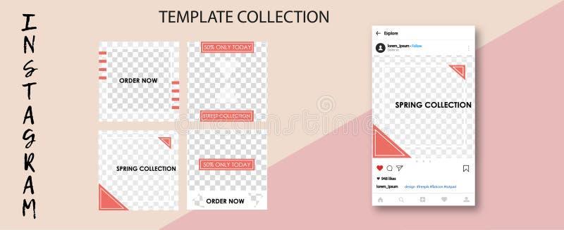 Moderiktiga sociala nätverksmallar Sociala massmediabaner för din design Redigerbar Instagram stolpeåtlöje upp vektor illustrationer