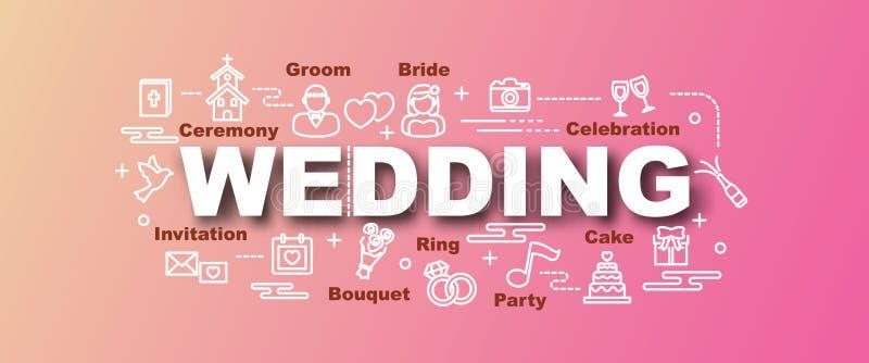 Moderiktigt baner för bröllopvektor stock illustrationer