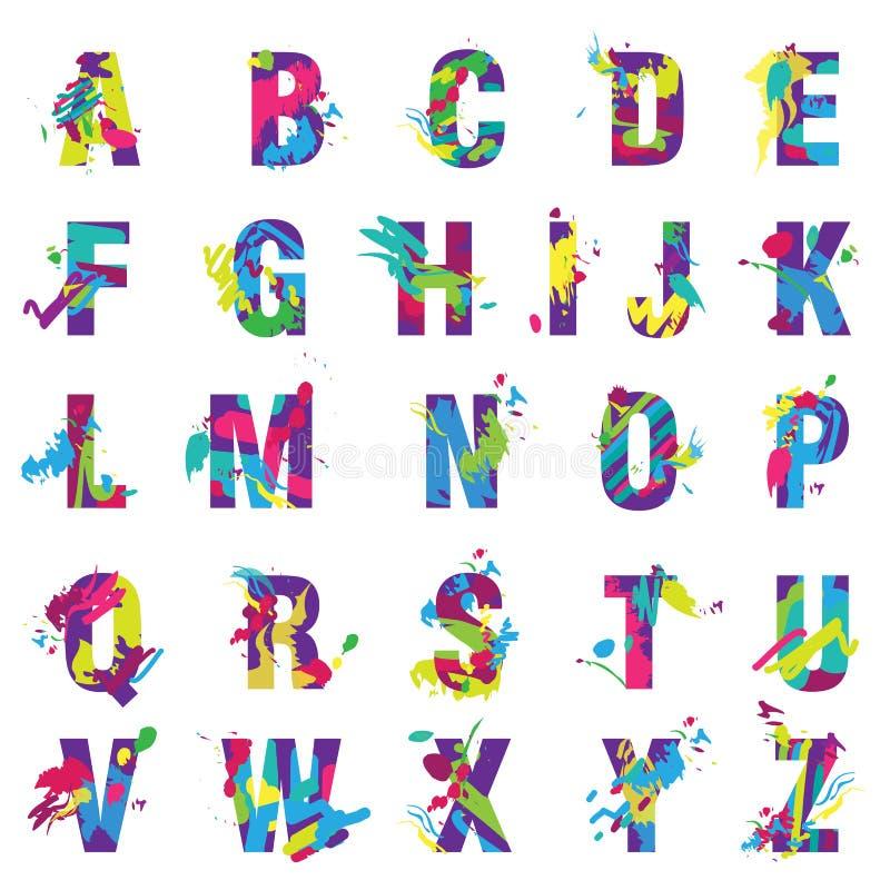 Moderiktigt bokstavsalfabet för vektor som målas av stilsorten för färgmålarfärgfärgstänk royaltyfri illustrationer