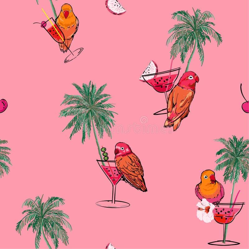 Moderiktigt färgrikt tropiskt semesterlynne i utdragna palmträd för hand, papegojafåglar, coctail och vektor för modell för somma royaltyfri illustrationer